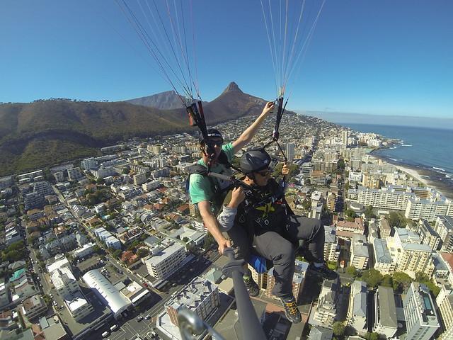 Vistas desde el parapente en Ciudad del Cabo (Sudáfrica)