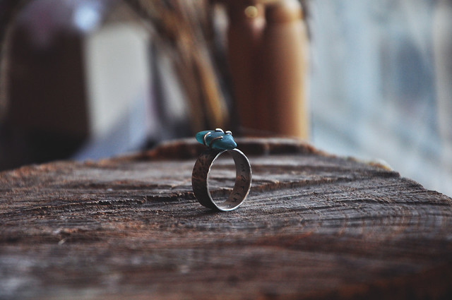 sterling silver & sea glass ring