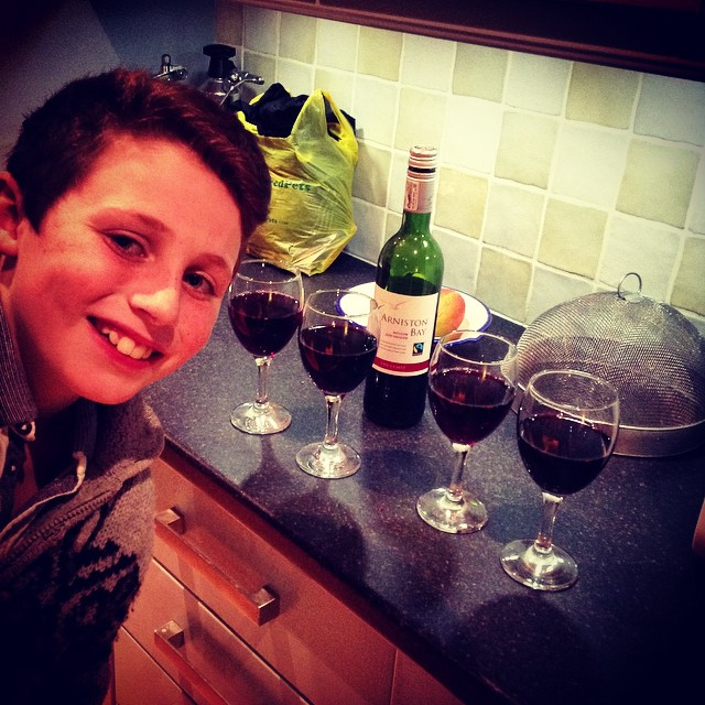 @finnio_de_fordio is the wine waiter for the evening. He's lining up the drinks...