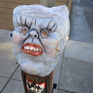 Demonic parking meter close up