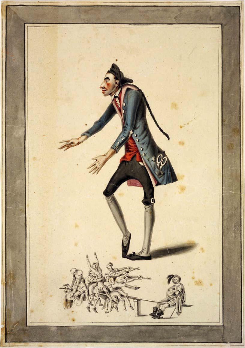 Ballettfigurant Beske als Schneidergeselle im Ballett von Peter Winter, Die Lustbarkeiten im Wirtsgarten, 1808
