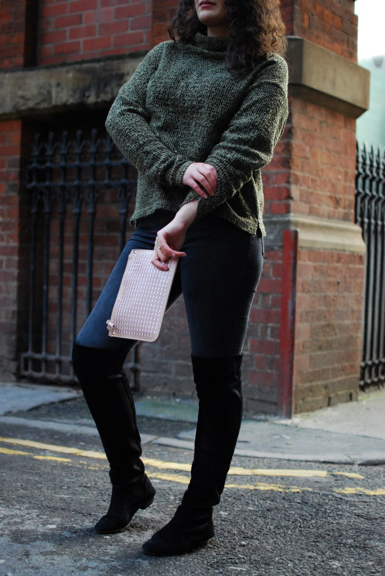 knitwear and boots chambray and curls