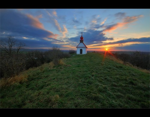 sunset sun church landscape twilight czech cloudy dusk hill wide sigma chapel brno historical setting morava kirch