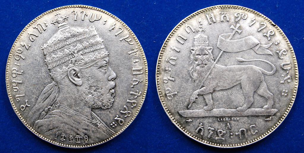 1 Birr Ethiopia 1889 Menelik II 15848590200_5f02fa8ccf_b