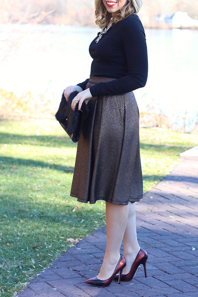Metallic Bronze Holiday Skirt | #LivingAfterMidnite