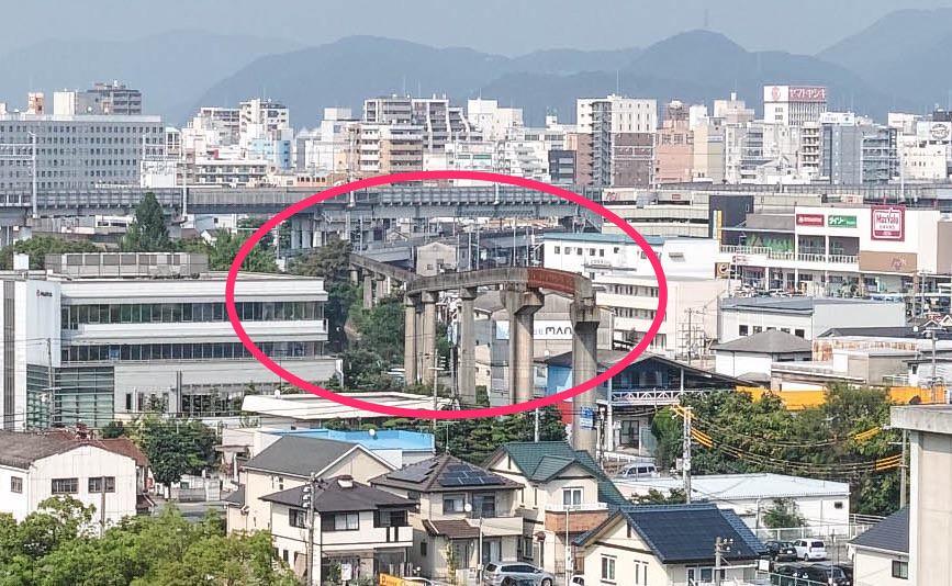上から見下ろす姫路モノレールの遺構