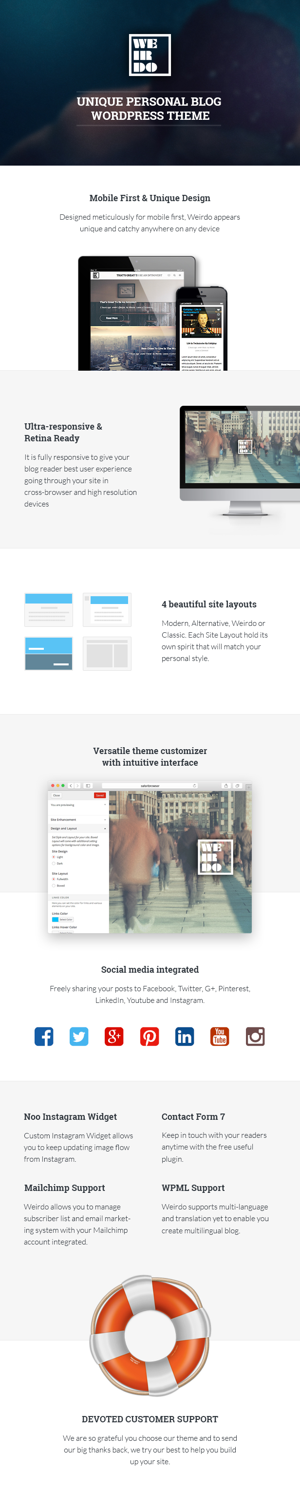 Weirdo WordPress Theme features