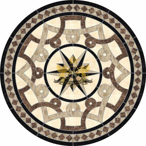 Circle Cut Water Jet Marble Mosaic Decorative Floor Medall