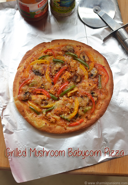 Grilled Babycorn Mushroom Pizza Recipe