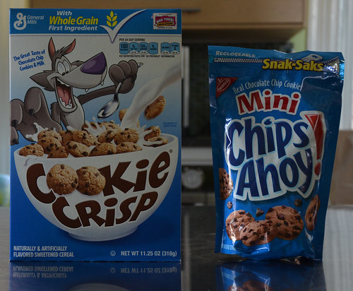 It's a taste-off between Cookie Crisp and a bowl flu of Chips Ahoy.