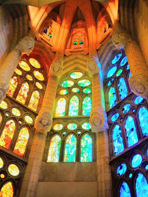 Spain Barcelona La Sagrada Familia stained glass 2