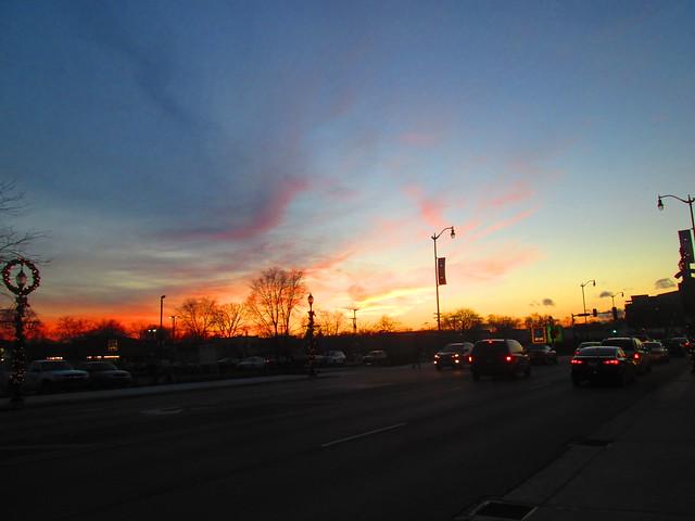 Downtown Skokie at sunset