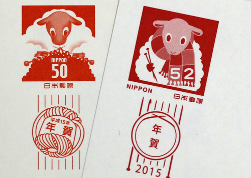 Year of the Sheep post card stamps