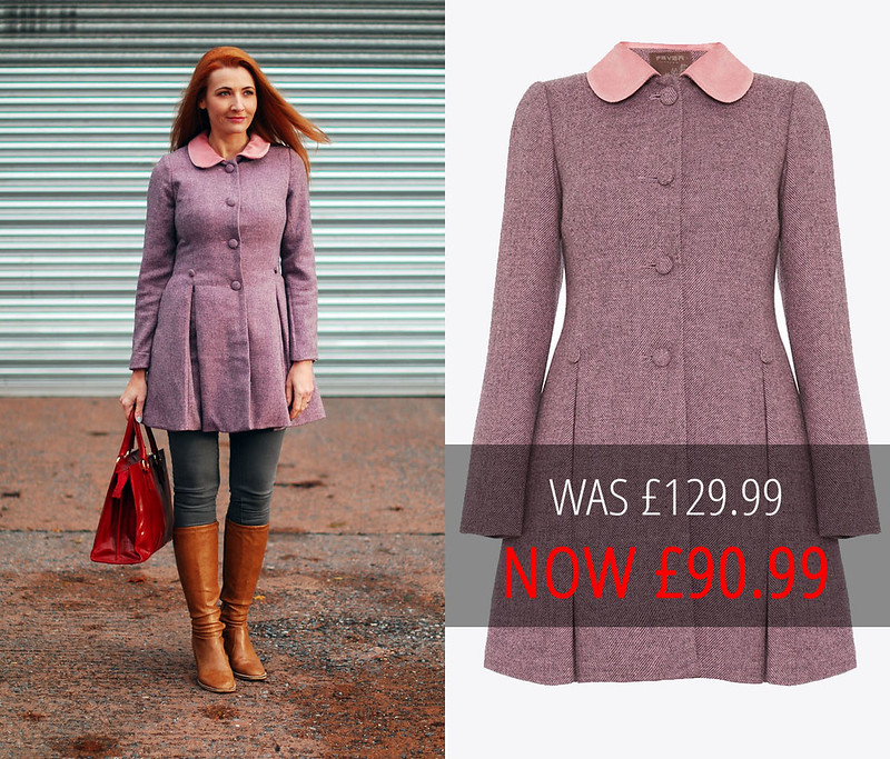 Sale: Fever London Pink/Charcoal Iris Dress Coat