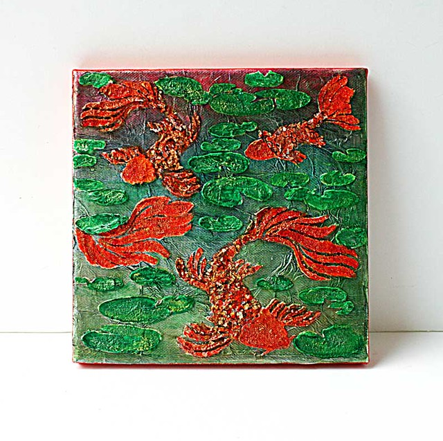 Fishes-in-water-mixed-media-canvas-by-Yvonne-Yam-for-The-Crafter's-Workshop