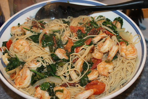 Shrimp and Spinach with Pasta