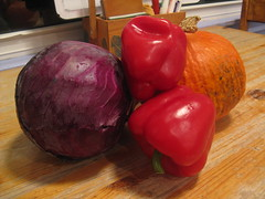 Red cabbage, red bell pepper, red kuri (Hubbard) squash