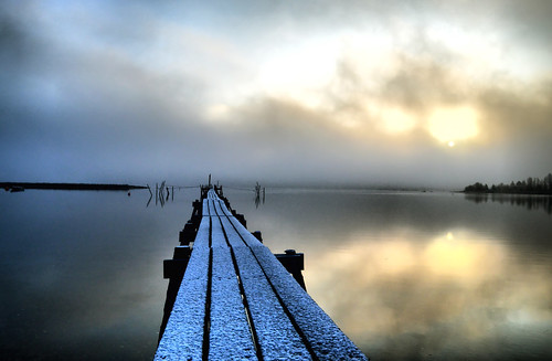 winter snow water clouds sunrise reflections denmark landscapes nikon piers jetty perspective lakes scandinavia moods tranquil fjords jutland d3200
