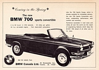 1962 BMW 700 Sports Convertible (Canada Ad)