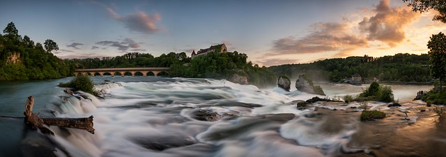 Sunset at the Rhine Falls