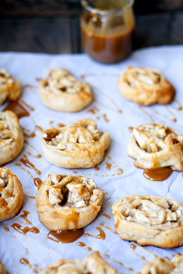 apple pie pinwheels with salted caramel