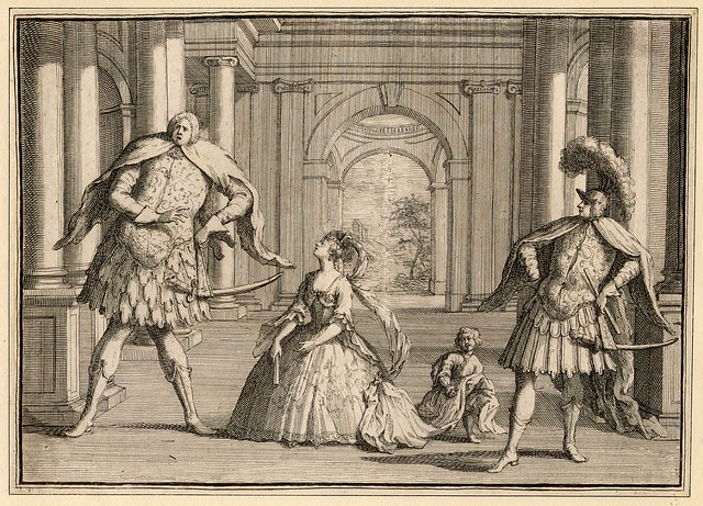 Caricature of a performance of Handel's Flavio, featuring (left to right) the castrato Senesino as Guido, the soprano Francesca Cuzzoni as Emilia and the castrato Gaetano Berenstadt as Flavio, unknown author