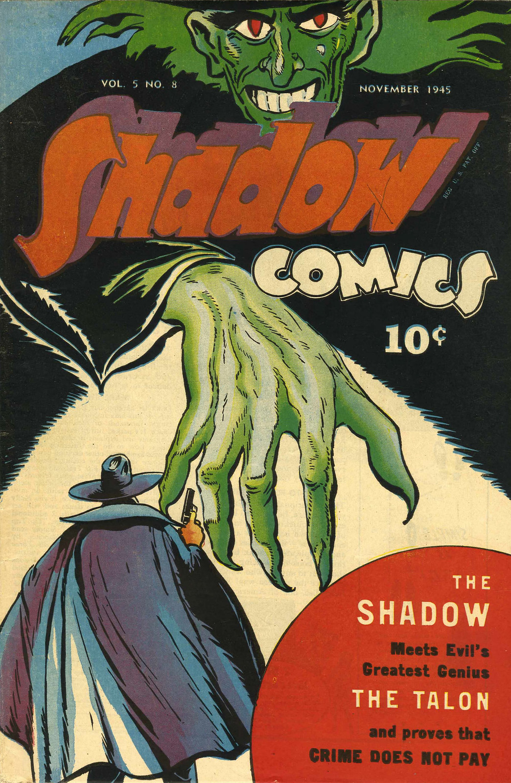 Shadow Comics V5#8 (Street & Smith, 1945)Charles Coll Cover