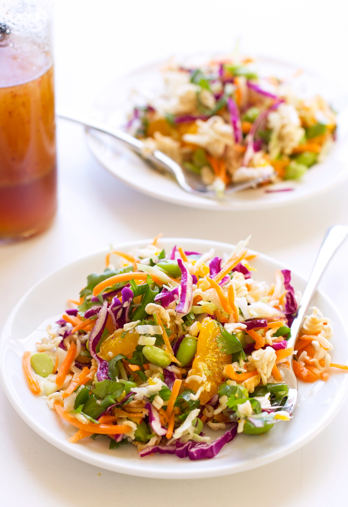 Asian Ramen Noodle Salad - loaded with a fresh vegetables and my sweet sesame vinaigrette! #asiansalad #ramennoodlesalad #asianramensalad #ramensalad | littlespicejar.com