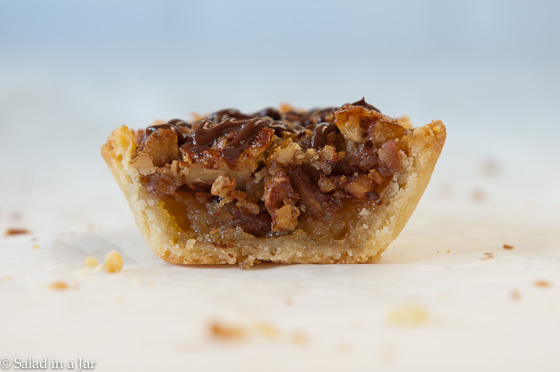 Browned Butter Pecan Mini-Tarts cut in half