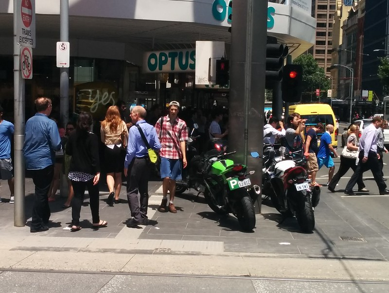 Motorcycle parking in Bourke Street Mall