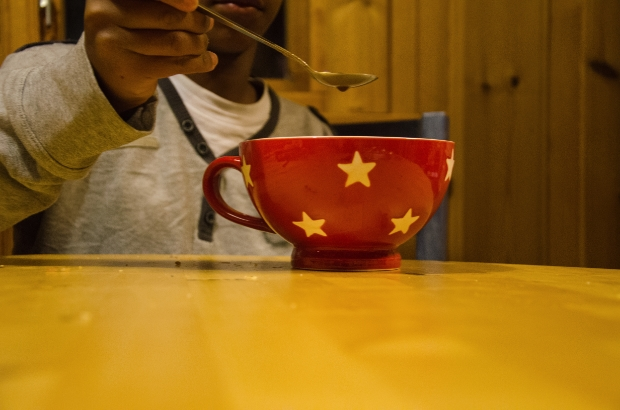 Red mug with stars on