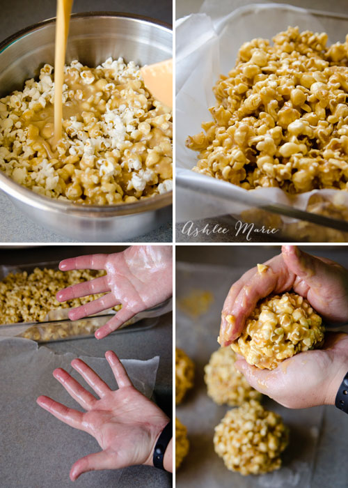 making soft gooey caramel popcorn balls are easy and a delicious treat and gift during the holidays