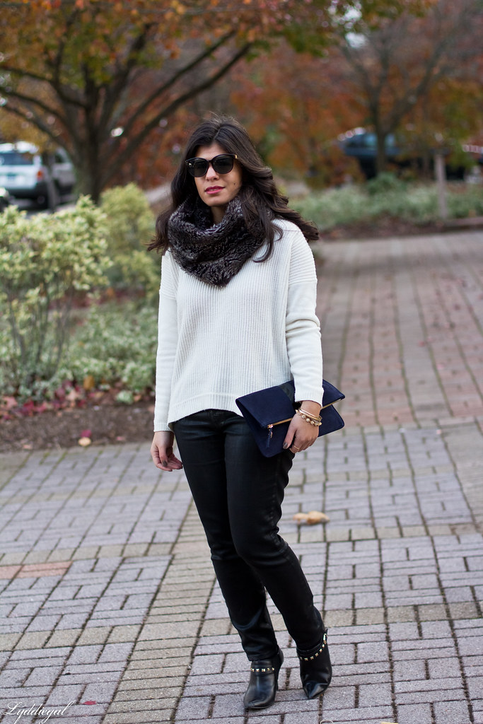 white sweater, black coated jeans, fur cowl.jpg
