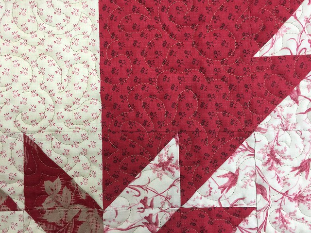 close-up of Hunter\'s Star quilting