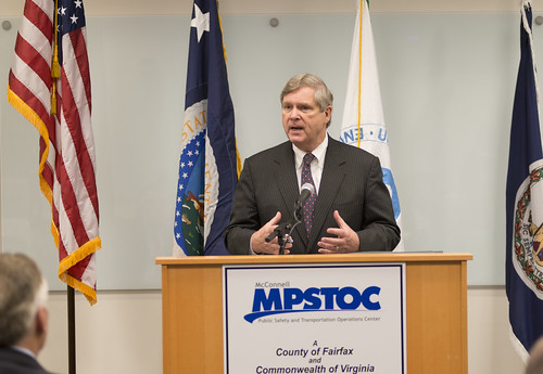 Agriculture Secretary Tom Vilsack speaking at a press conference in Fairfax, VA. USDA photo by David Kosling.