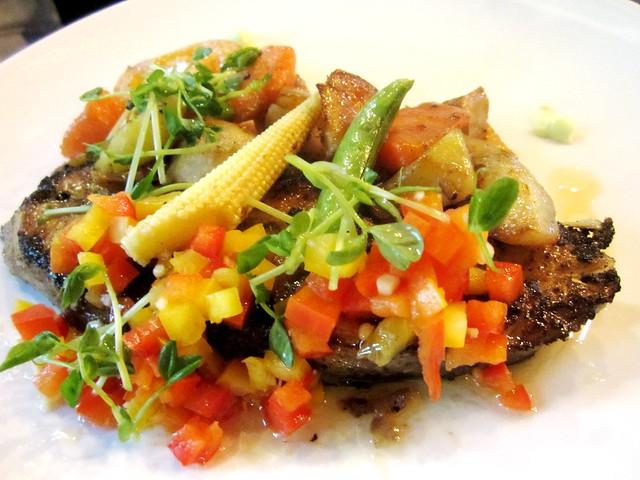 N°2 Casual Dining, fish in pesto & salsa
