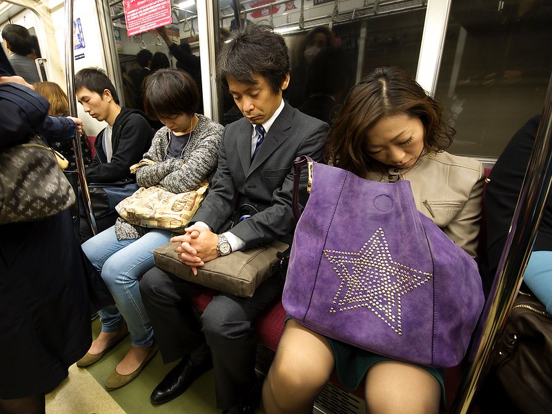 Japanese sleeping in public places