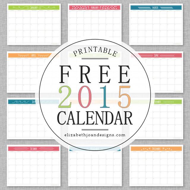 FREE Printable 2015 Calendar from Elizabeth Joan Designs