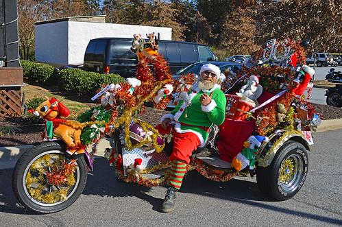 Decorated Christmas trike
