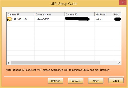 โปรแกรม U-life จะแสดงรายชื่อกล้องที่มีในเครือข่ายให้ดู