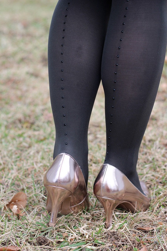 Dark Gray Rhinestone Back seam Tights with Rose Gold Heels