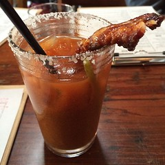 #TheCaveman #BloodyMary at @sidecar_slo includes chipotle-candied infused Vodka...Heeelllloooo!
