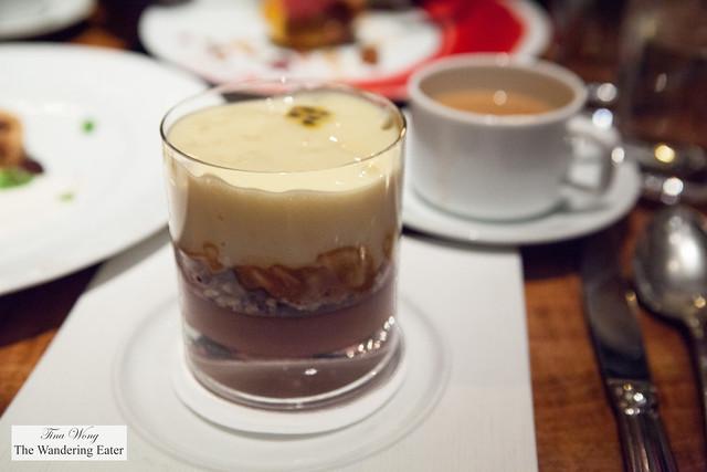 Chocolate Trifle, Banana, Hazelnut, Caramel and Passion Fruit Meringue