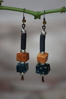 Orange and Blue Porcelain Beads With Mixed Metal Earring Set E - 0160