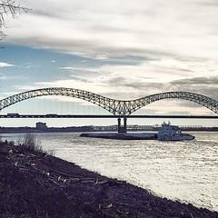 2015-01-17; Sunset on the Mississippi , Memphis TN #memphistennessee #memphistn #memphis #tennessee #tn #901 #mtown #downtownmemphistn #downtownmemphis #downtown #mississippiriver #river #current #waves #sunset #barge #bridge #mbridge #hernandodesotobridg