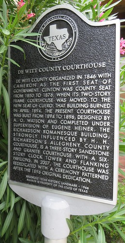 texas tx easttexas cuero dewittcounty texashistoricalmarkers larmourwatson courthouseextras