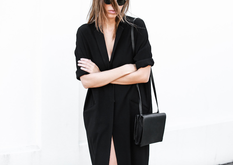 modern legacy blog ASOS duster coat black dress sneakers street style Alexander Wang Prisma clutch monochrome (8 of 13)