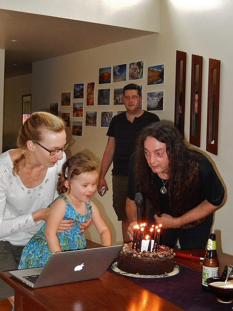 Siena Helping Stephan Blow Out the Candles