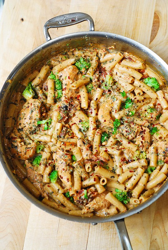 chicken pasta, broccoli pasta, sun-dried tomato cream sauce recipe