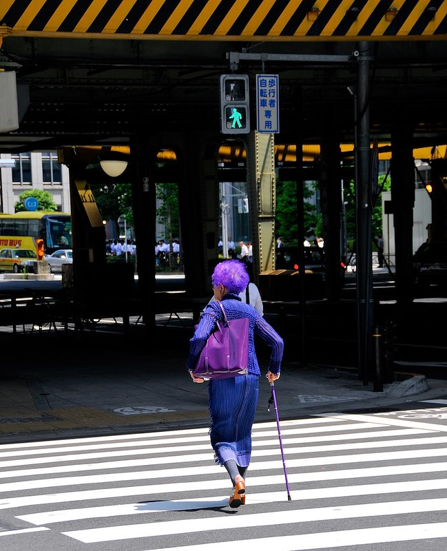 Blue haired granny in Ginza